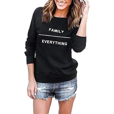OverDose Mujeres Imprimir letra de la manera del suéter de cuello redondo de algodón de manga larga tapas