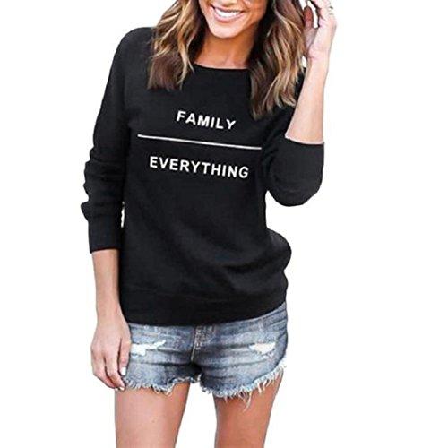 OverDose Mujeres Imprimir letra de la manera del suéter de cuello redondo de algodón de manga larga tapas ocasionales (S,