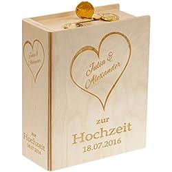 Edles Sparbuch zur Hochzeit aus Holz - mit 2 Namen und Wunschdatum graviert - ein originelles Geldgeschenk (Gravur: HERZ + 2 VORNAMEN + DATUM, braun)