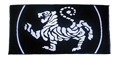 Budodrake Karate Handtuch mit Shotokan Tiger schwarz-weiß (Handtuch Umgekehrt)
