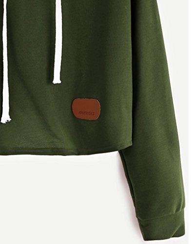 Minetom Damen Kapuzenjacke Long Sleeve Hoodie Sweatshirt Casual Pullover Kapuzen Pullover Tops Bluse Grün