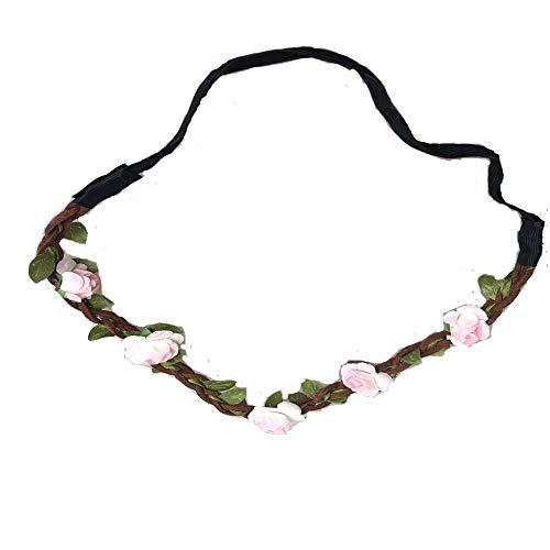 l S Flower Festival Braided Strand Girlande Bohemian Sommer Festlich Bekleidung Hochzeit Haar Wreath Stirnband (Color : Ice Pink, Size : One Size) ()