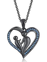 Silvernshine 9K Black Gold FN Aquamarine Sim Diamond Accent Mother & Child Heart Pendant Necklace