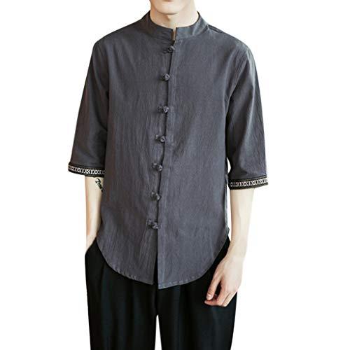 Cotton Blend Short Sleeve Shirt (HHyyq Men's Fisherman Shirt Short Sleeve Basic Linen Casual Shirt Summer Shirt with Wooden Buttons Made from Cotton Blend(Grau,XXXXXL))