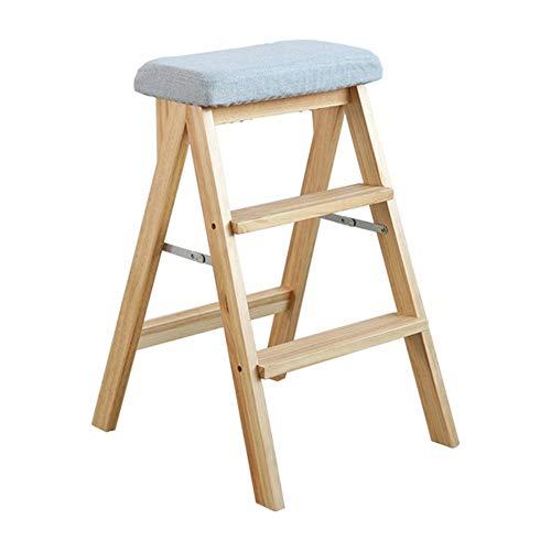 XB-ZDT Holz Trittleiter 3 Stufen Klappbar, Kletterhocker Für Zu Hause, Tragbarer Multifunktions-Stufenhocker, Küchenhocker, Hochhocker, Tragkraft 100 Kg (Farbe : Blau)