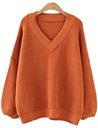ZGJQ Sweater Knit Sweater Add Fertilizer To Increase Warm Pullover Lantern  Sleeve V-Neck Pullover 653d19bd9