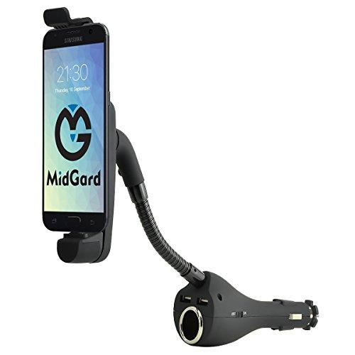 Aktiv KFZ Auto Schwanenhals Handy Smartphone Halterung Halter f. Zigarettenanzünder mit Ladefunktion f. Samsung Galaxy S2 / S3 / S3 Mini / Note 2 / S4 / S4 Mini / S4 Active / Note 3 / S5 / S5 Mini / S5 Active / Note 4 / Note Edge / Alpha / A3 / A5 / E3 / E5 / S6 / S6 Edge / S7 / S7 Edge / J1 / J2 / J3 / J5 / J7 usw. Inkl. Mikro-USB Kabel (0,5m)