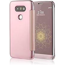 iMusi Coque Housse Protection Pour LG G5 Design Fenêtre Pliable Flip Case - Rose d'or