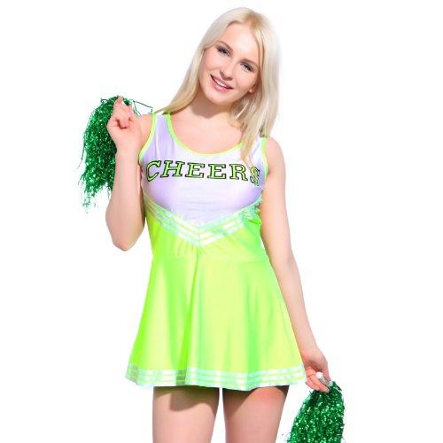 Cheerleader Kostuem Uniform Cheerleading Cheer Leader GOGO Girl Karneval Fluoreszierende (Girls Gogo Kostüme)