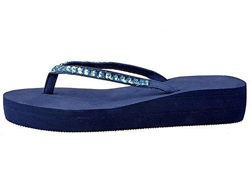 Minetom Donna Flat Flip Flops Zeppa Piattaforma Sandali Slim Infradito e Ciabatte Blu