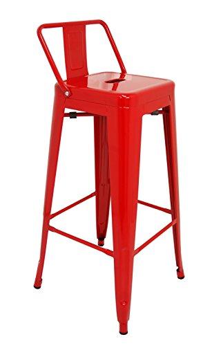 La Silla Española Tólix Taburete con Respaldo, Acero Inoxidable, Rojo, 95 x...
