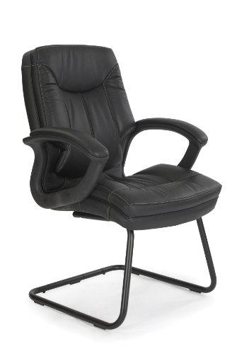 Eliza Tinsley 608AV/LBK - Silla de visita (superficie de piel, costuras de contraste, estructura basculante), color negro