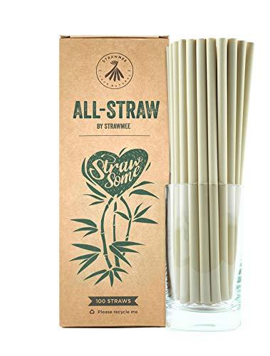 Strawmee All-Straws, Bio Einweg Strohhalme aus natürlichen Pflanzenfasern, nachhaltige Eco Alternative zu Plastik und PLA, jumbo 8mm, kompostierbar, für Cocktails, Gastronomie, Cafés, Bars und Hotels -