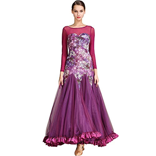 Modern Ballroom Dance Anzug Walzer Kleid Große Hem Kleid Tanz Kostüm Langarm (Farbe : Purple, größe : XL)