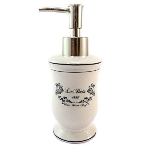 Les Trésors De Lily P5696 - Distributeur de savon céramique 'Le Bain' beige (rétro) - 17x6.2 cm