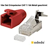odedo® 10er Pack Crimpstecker rot CAT 7, CAT 7A, CAT 6A für Verlegekabel bis 8mm 10GBit Gigabit Ethernet starre oder flexible Adern 1.2mm-1.45mm RJ45 Stecker Metall geschirmt mit Einfädelhilfe
