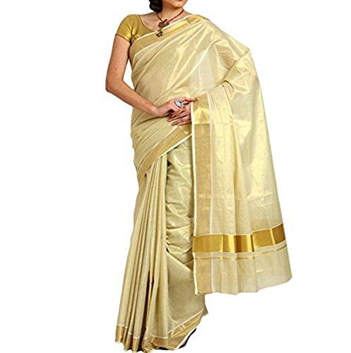 Ars Cotton Saree With Blouse Piece (Ksvt003_Gold_Free Size)