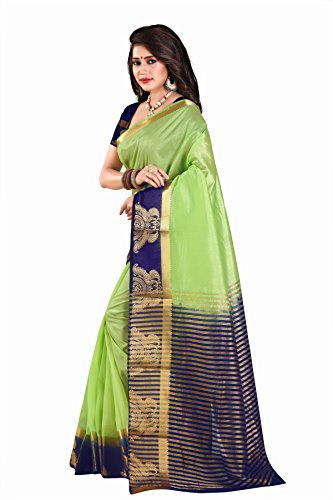 Nirja Creation Cotton Silk Saree With Blouse Piece(NC-OD-LOVE-1_Green_Medium)