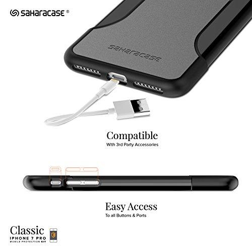 Coque iPhone 7 Plus, (Noir) SaharaCase® + [film protecteur ZeroDamage en verre trempé] kit de protection accompagné d'un et d'une protection de saisie antidérapante [antichocs] avec une coupe ajustée Gris, Noir