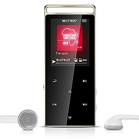 AGPTEK A01T Lecteur MP3 Bluetooth en Métal Sport 8Go Stéréo Excellent Lecteur Baladeur avec boutons tactiles & bouton de verrouillage (Supporte carte SD jusqu'à 128Go, la carte pas inclus), Noir