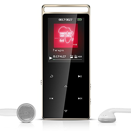 AGPTEK A01T- Bluetooth Reproductor de MP3 8GB con FM Radio y Banda del Brazo, Metalico con Botones Táctiles, Apoya Tarjeta de Memoria hasta 128 GB, Color Negro