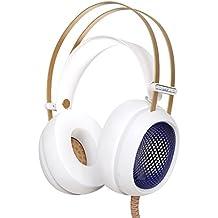 Auriculares Estéreo iBeek Cascos PS4 Virtual 7.1 Canal Ligero Hi-Fi Sonido Envolvente Profesional con Micrófono Control de Volumen & Cancelación de Ruido para PS4 PC Mac Laptop Tablet Smartphones (Audio 3.5mm, LED Indicador de Colores Neón) (Blanco)