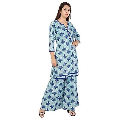 Jaipuri Printed Blue Kurta And Plazzo Set With Great Combination By Kavya Fashions