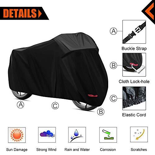KOKOMALL Copri Moto Leggero Per Stoccaggio Esterno Impermeabile Bloccabile Protezione UV Copertura Del Motociclo L