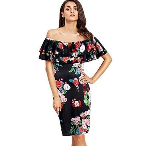 Bluestercool Robes Femme Boho sur épaule Ruffled Collar Beach Floral Print Dress (40, Noir)