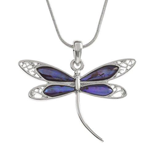 Kiara mit großer Dragonfly Halskette Inlaid mit mit Paua Abalone Muschel-18-Schlange Kette mit Stollen, Silber mit Rhodium beschichtet.