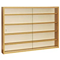 WATSONS REVEAL - 4 Shelf Glass Wall Collectors Display Cabinet - Oak