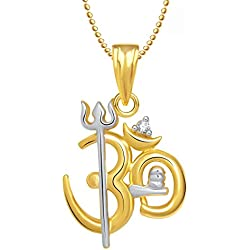 Meenaz Gold Plated Om Pendant Locket With Chain In God Pendants & Lockets In American Diamond Cz Jewellery Gifts For Men Women GP240