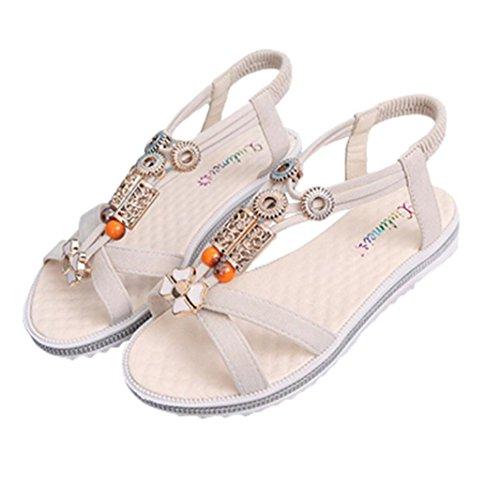 Kaiki Damen Sommer Sandalen Frauen flache Strappy Low Heel Wedge Knöchel Schuhe Strand Beige