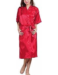 FY Mujeres Unisex Pareja Kimono Albornoz Cardigan Robe Bata de Baño Seda De Imitación Bathrobe Túnicas Ropa De Noche Dormir Sleepwear Hogar Hotel Spa Fiesta Boda Regalo