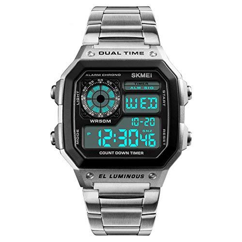 Relojes Digitales Hombre,Reloj de analógico de Negocios único para Hombres Cronógrafo de Acero Inoxidable...