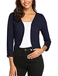 Parabler Damen Bolero Kurze 3/4 Ärmel Strickjacke Schulterjacke Shrug Top Casual Top