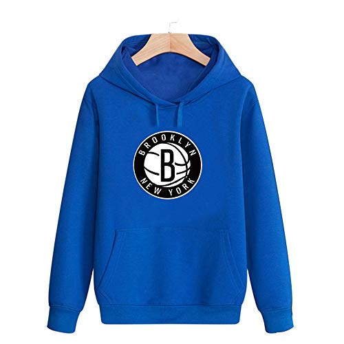 LSJ-ZZ Männer NBA Basketball Hoodie, Brooklyn Nets Hoodies beiläufige Bequeme Sweatshirt Trainings Basketball-Bekleidung,Blau,L(170~175CM)