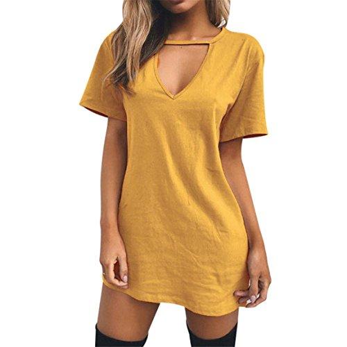Moonuy Damen Kleid, Choker V-Ausschnitt Long Top T-Shirt Leger Party Minikleid Bluse, über dem Knie, Mini Spring Kurzer Gerader Rock, Leichtes Tagestragen (Gelb, EU 34/Asien S) (Spring Länge Knie)