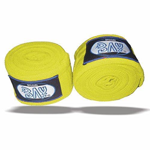 "BAY® ""basic 2,5"" Boxbandagen + WICKELANLEITUNG, GELB, elastisch, 2,5 Meter x 5 cm, Box-Bandagen, Paar, GELB"