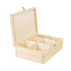 6 compartiments Boîte à thé en bois naturel fermeture 22,5 x 16,5 x 8 cm BARTU