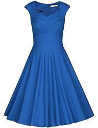 MUXXN Damen Retro 1950er Kleider Swing Kleid Vintage Rockabilly Kleid Partykleid Cocktailkleid