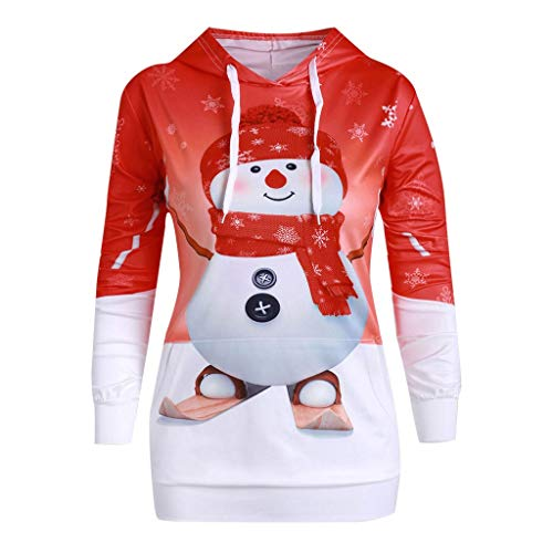 LILIGOD Frauen Weihnachten Langarm Pullover Big Pocket Cartoon Hoodie Schneemann Print Kapuzenpullover Lässig O-Ausschnitt Sweatshirt Mode Wild Tuniken Lange Bluse Tops