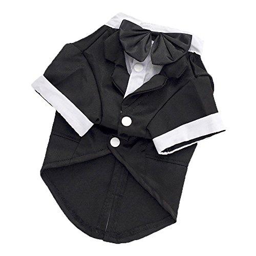 Pet Leso® Schwarz Hund Smoking Puppy Hund Hochzeits-Kleider Kostüm #5 --Brust:59cm; Hals:41cm; Rückenlänge:38cm