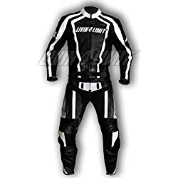 4LIMIT Sports 200100001406 Traje para Moto de Cuero, Negro/Blanco, XL