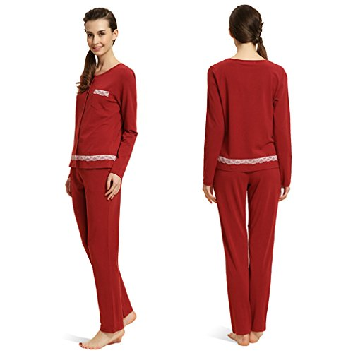 GWELL Modal Schlafanzug Damen Lang Nachtwäsche Set Zweiteiliger Winter Pyjama Rot