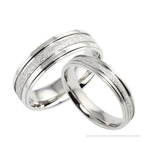 sringe Edelstahl Ringe für Paar Hochglanzpoliert Breite 6/4 MM Rund Trauring Partner Ringe Silber Herren Damen Damen Gr.60 (19.1) & Herren Gr.60 (19.1) (Ich Liebe Lampe Kostüm)