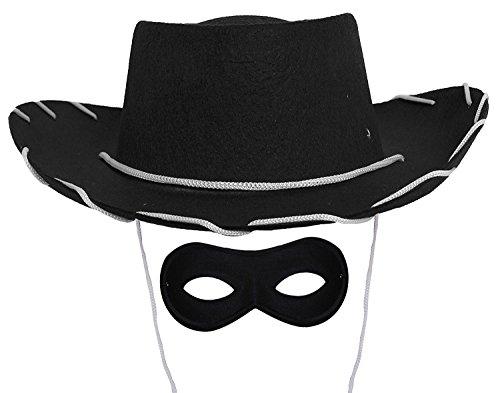 ILOVEFANCYDRESS Kinder Cowboy Hut Maske = ERHALTBAR IN Verschiedenen STÜCKZAHLEN= der Hut IST IN SCHWARZ = und Hat Eine WEIßE Schnur = der Hut Hat DEN Durchmesser VON 55cm= 12 HÜTE MIT Maske