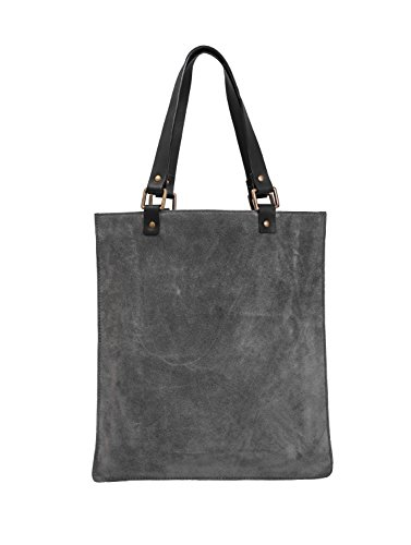 Paint Genuine Grey Suede Sleek Tote Bag