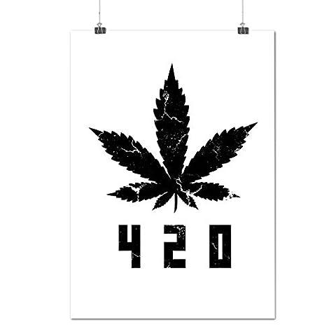 White Cannabis Leaf Weed Plant Matte/Glossy Poster A4 (30cm x 21cm) | Wellcoda