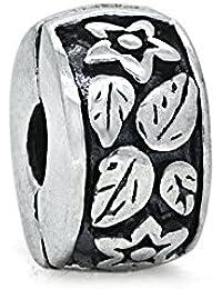 Leaf &Flower Clip Stopper, Sterling-Silber 925, geeignet für Armbänder von Pandora, Chamilia, Biagi, Troll, Beads, Europen